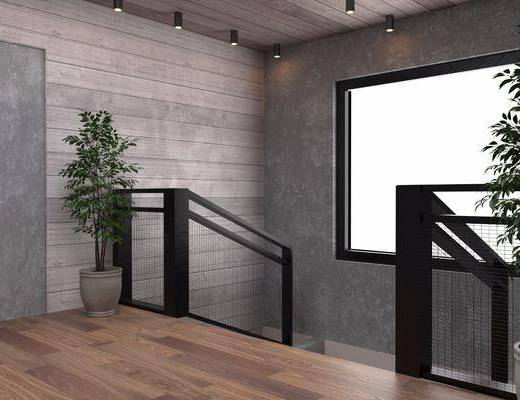 楼梯口, 盆栽, 绿植, 现代