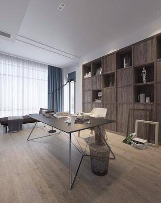 书房, 桌子, 单人椅, 书桌, 落地灯, 躺椅, 装饰柜, 摆件, 装饰品, 陈设品, 书籍, 垃圾桶, 北欧