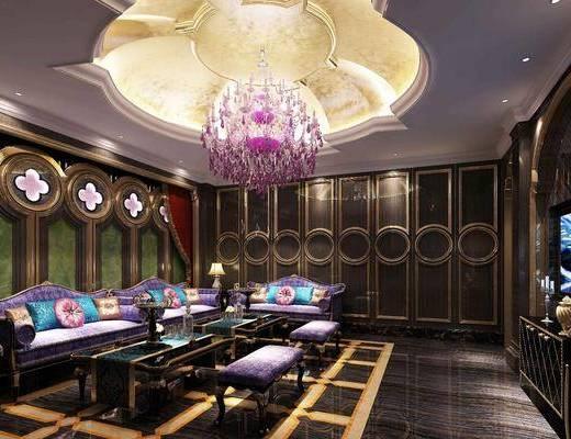 KTV包厢, 娱乐会所, 沙发组合, 沙发茶几组合, 边柜组合, 欧式