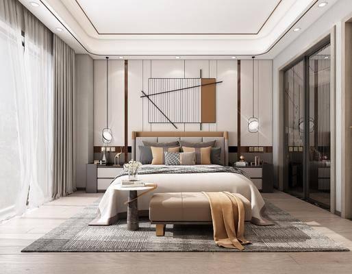 双人床, 装饰画, 床头柜, 衣柜, 吊灯, 床尾踏