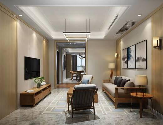 客厅, 现代客厅, 装饰画, 吊灯, 沙发组合, 沙发茶几组合