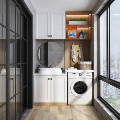 洗衣房, 阳台露台, 洗衣机, 洗手台, 装饰镜, 北欧