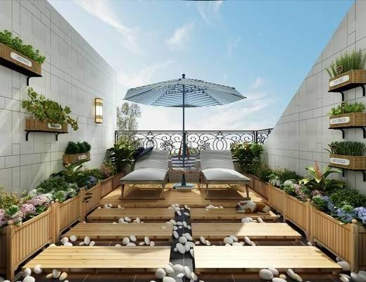 别墅, 露台, 屋顶花园, 遮阳扇, 桌椅组合, 植物