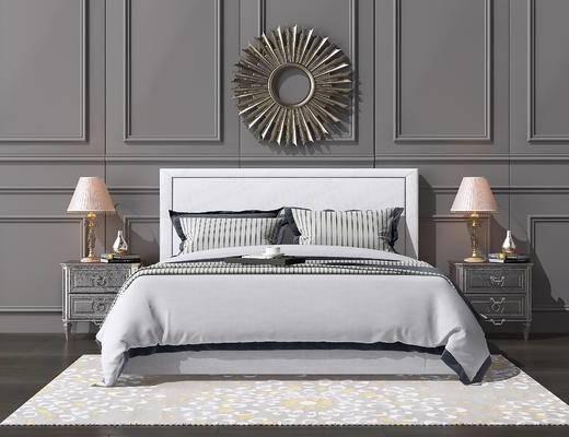 双人床, 床具组合, 墙饰, 床头柜, 台灯