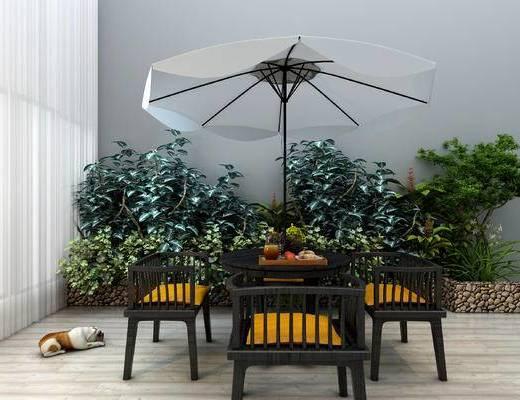 现代, 户外, 休闲椅, 园林植物, 景观, 桌椅组合