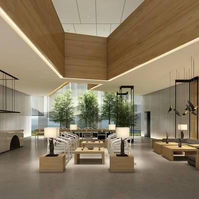 新中式大堂, 中式大堂, 前台, 植物, 吊灯