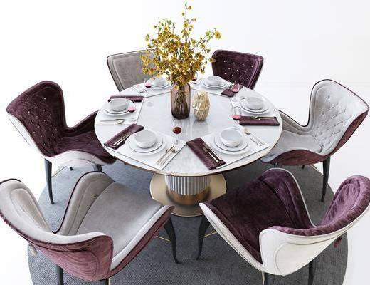 桌椅组合, 餐桌, 餐椅, 圆桌, 餐具, 花瓶花卉, 现代