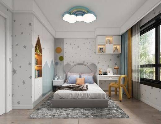 单人床, 吸顶灯, 书桌, 窗帘