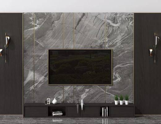 电视柜, 液晶电视, 壁灯, 摆件组合