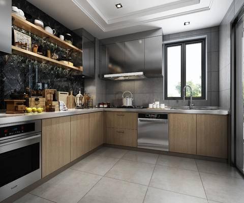 橱柜, 现代橱柜, 厨具, 摆件, 烤箱, 现代