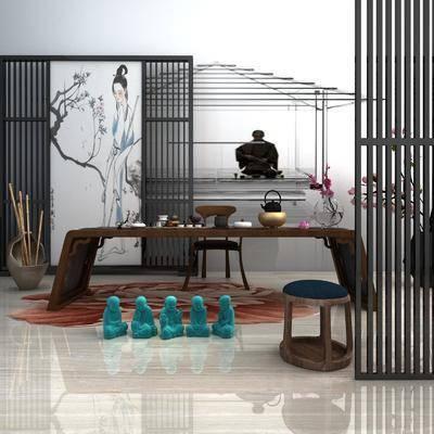 茶台屏风, 茶桌, 单人椅, 凳子, 摆件, 花瓶花卉, 装饰品, 陈设品, 茶具, 屏风隔断, 中式