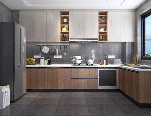 厨房, 橱柜, 厨柜, 厨具, 冰箱, 餐具, 厨房用品, 现代