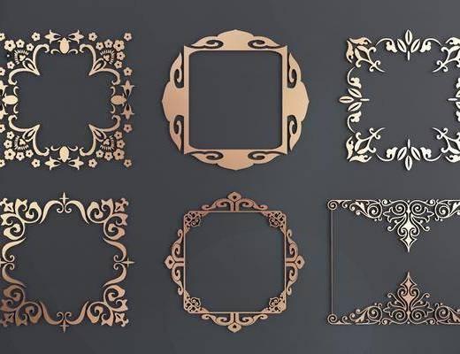 金属镂花, 花框角, 花角线, 花边角, 雕花, 新中式