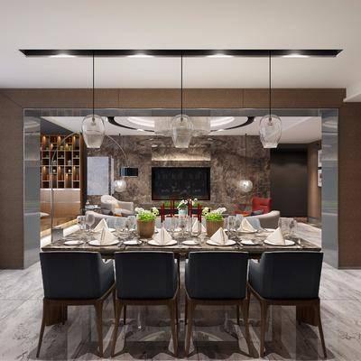 现代餐厅, 现代, 餐厅, 餐桌椅, 吊灯, 椅子
