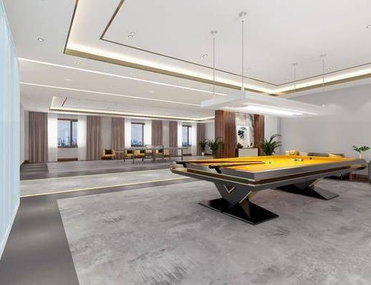 活動廳, 娛樂室, 桌球, 沙發組合, 現代