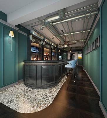 工业风, 简欧, 酒吧, 酒柜, 吧台, 吧椅, 壁灯, 酒杯