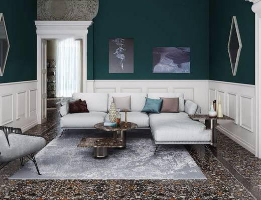 沙发组合, 装饰画, 摆件组合, 茶几, 单椅