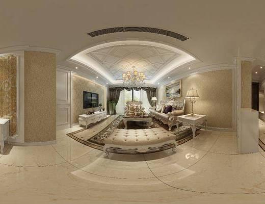 客厅, 餐厅, 多人沙发, 茶几, 躺椅, 边几, 台灯, 装饰画, 挂画, 电视柜, 边柜, 吊灯, 餐桌, 餐椅, 餐具, 摆件, 装饰品, 陈设品, 欧式古典