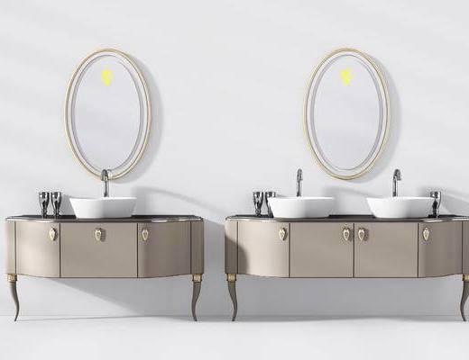 浴室柜, 洗手台, 装饰镜, 简欧