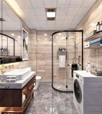 卫生间, 洗衣机, 洗手台, 装饰镜, 马桶, 花洒, 装饰画, 挂画, 新中式
