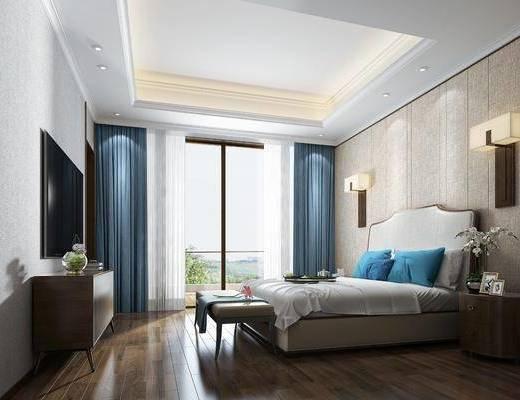卧室, 双人床, 床头柜, 壁灯, 电视柜, 边柜, 床尾凳, 新中式