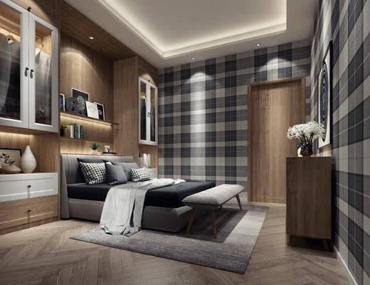 卧室, 双人床, 床尾凳, 衣柜, 服饰, 边柜, 花瓶花卉, 摆件, 装饰品, 陈设品, 置物架, 现代