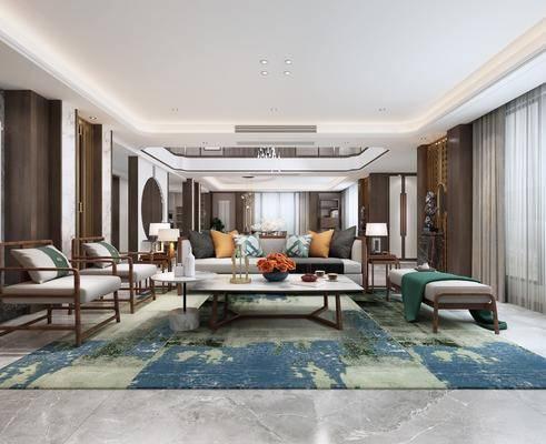 新中式, 客厅, 椅子, 沙发, 沙发凳, 茶几, 地毯, 边几, 台灯