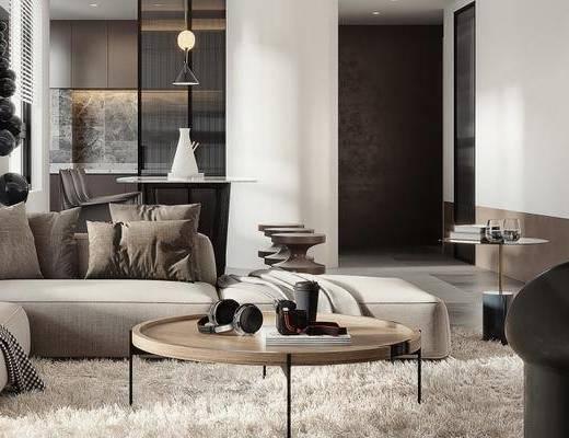 沙发组合, 茶几, 摆件组合, 落地灯, 吊灯
