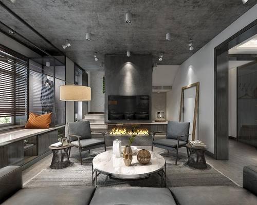 工业风, 客厅, 卧室, 楼梯, 休闲椅, 沙发组合