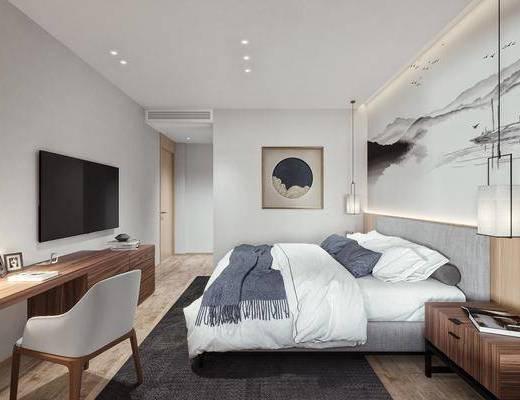 新中式, 主卧房, 单椅, 双人床, 挂画