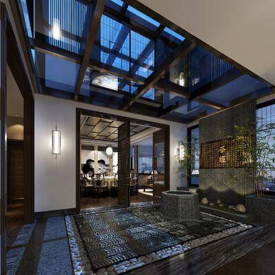 新中式餐厅, 中式餐厅, 景观, 茶室