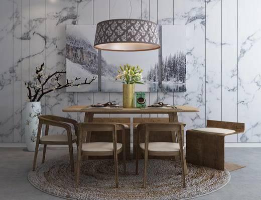餐桌椅, 桌椅组合, 吊灯, 椅子, 桌子, 餐具, 新中式