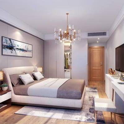 卧室, 北欧, 现代, 双人床, 床头柜, 吊灯