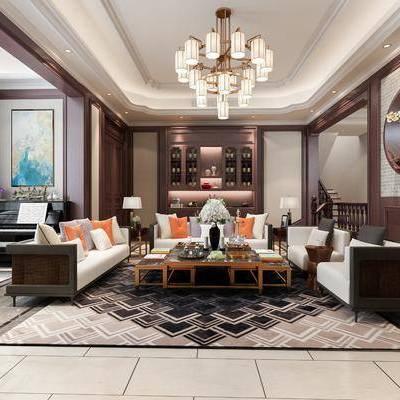 客厅, 新中式客厅, 沙发组合, 沙发茶几组合, 新中式沙发