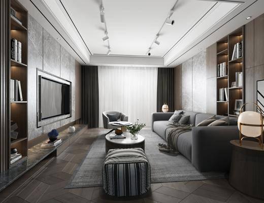 现代客厅, 客厅, 沙发茶几, 边几, 台灯, 置物架, 摆件