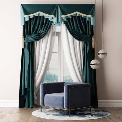 窗帘组合, 单人沙发, 吊灯, 新古典