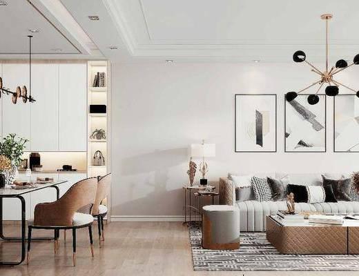 沙发组合, 吊灯, 装饰画, 茶几, 餐厅, 电视柜