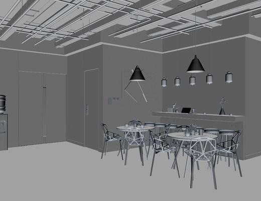 茶水区, 餐桌, 餐椅, 单人椅, 吊灯, 圆桌, 墙饰, 摆件, 装饰品, 陈设品, 工业风