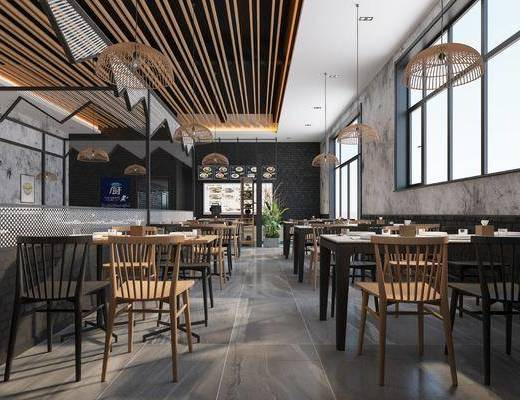 现代中餐厅, 面馆, 餐桌椅