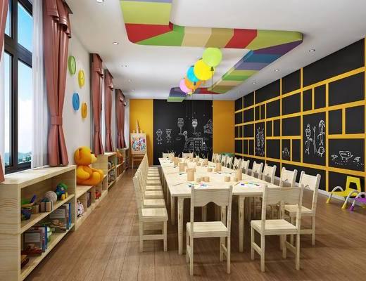 幼儿园美术教室, 美术活动室, 书桌椅, 玩具, 画笔, 画板, 气球吊灯