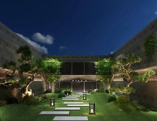 新中式花园, 新中式庭院, 植物, 庭院, 花园, 草地, 地坪灯
