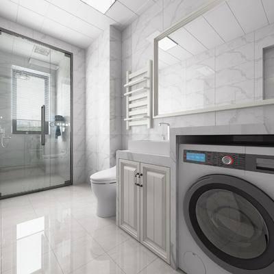 坐便器, 洗衣机, 淋浴房, 卫生间, 洗衣机柜, 镜柜, 换热器, 现代