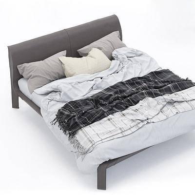 现代双人床, 现代, 床, 布艺床, 床品