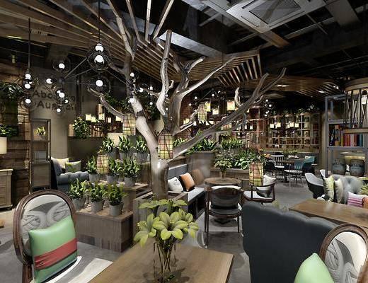 咖啡厅, 工业风, 桌子, 椅子, 单椅, 卡座, 植物, 盆栽, 摆件, 装饰品, 花瓶, 花卉