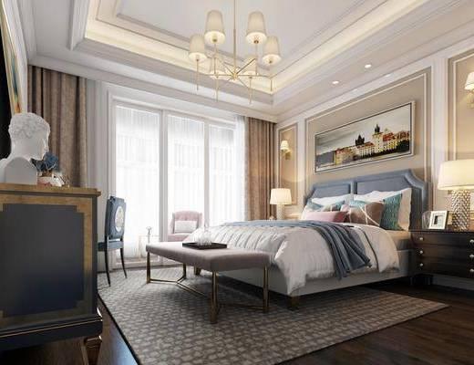 美式卧室, 卧室, 床具, 床头柜, 吊灯, 美式吊灯, 边柜, 装饰柜, 单人椅, 挂画, 装饰画, 台灯, 床尾踏, 壁灯, 美式壁灯, 双人床