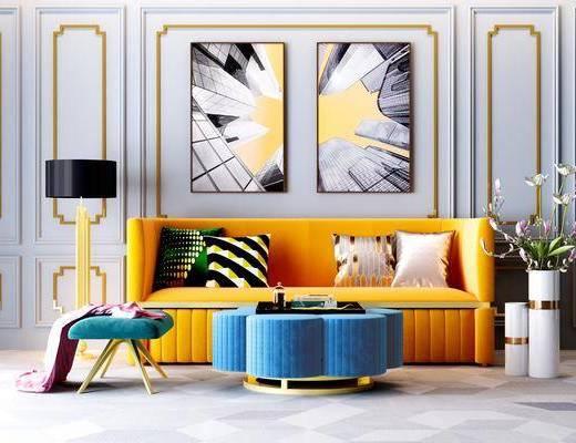 现代沙发, 轻奢沙发, 沙发组合, 沙发茶几组合