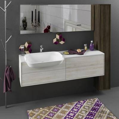 洗手台, 浴镜, 毛巾, 地毯, 浴室用品, 衣架, 现代