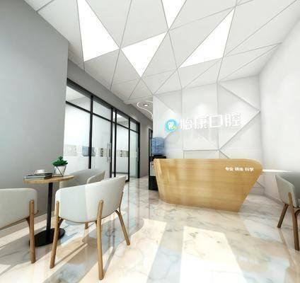 牙科, 单人椅, 茶几, 前台, 墙饰, 现代