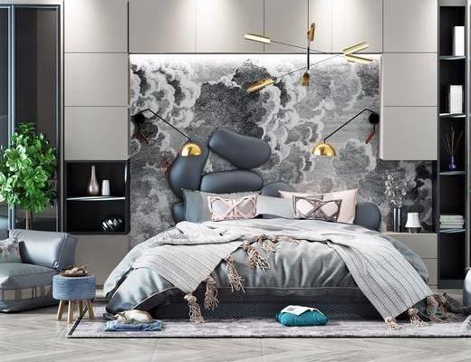 现代风格双人床, 现代, 壁灯, 植物, 盆栽, 床, 床头柜, 懒人沙发