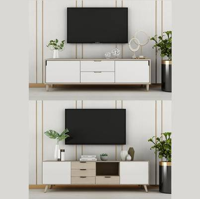电视柜, 电视, 绿植, 摆件, 北欧电视柜